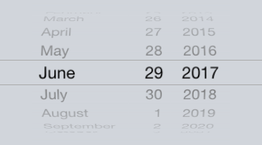 Native iOS picker, infinite scrolling.