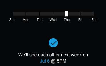 Simple slider which is more than enough for the next week. - http://uxguide.dotnetnuke.com/UIPatterns/DatePicker.html